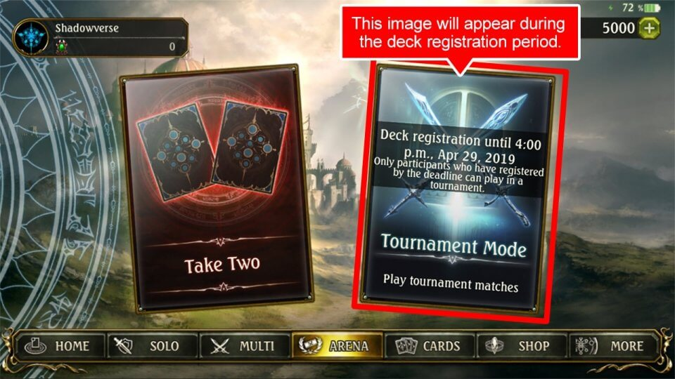 "(2)Press the ""Tournament Mode"" image to create and register decks."