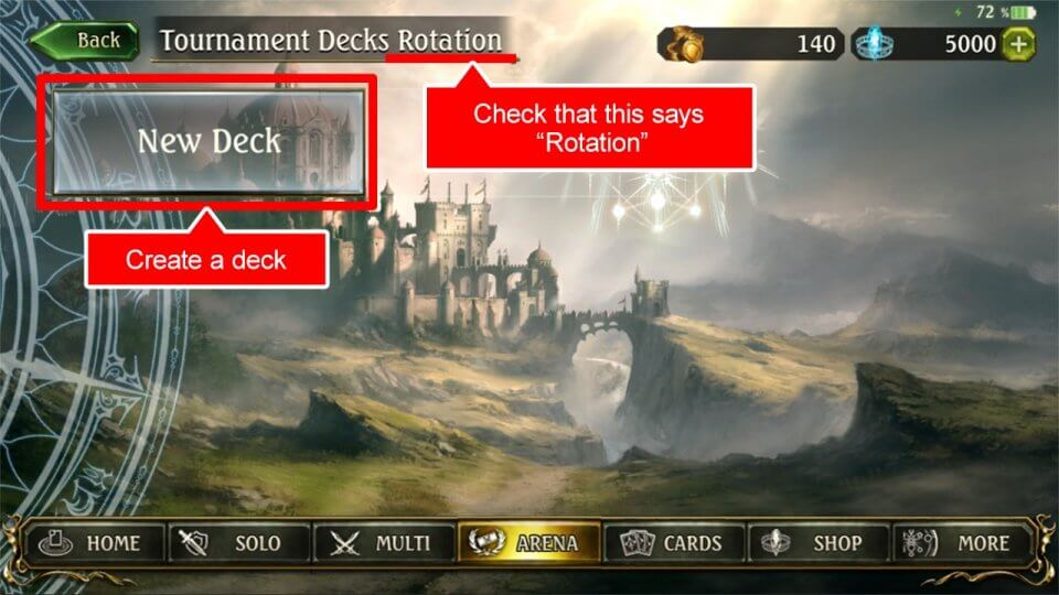 "(3)Press the ""New Deck"" button to create decks with the normal deck creation procedures."
